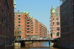 Speicherstadt in Hamburg, Germany. Walking through Hamburg channels, historic warehouse district at Hamburg harbor Stock Photos