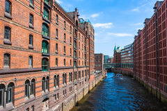 Speicherstadt in Hamburg, Germany is the world's largest timber- Stock Image