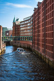 Speicherstadt in Hamburg, Germany is the world's largest timber- Royalty Free Stock Photos
