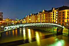 Speicherstadt in Hamburg by night Stock Photography