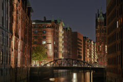 Speicherstadt of Hamburg by night Stock Image