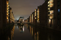 Speicherstadt Hamburg at night, Wasserschloss Royalty Free Stock Images