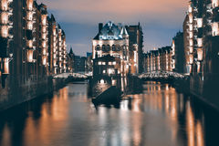 Speicherstadt in Hamburg, toned image Royalty Free Stock Photo