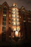 Speicherstadt Hamburgo na noite Foto de Stock Royalty Free