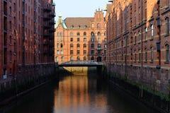Speicherstadt, historical center of Hamburg at sunrise Stock Photography