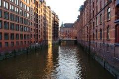 Speicherstadt, historical center of Hamburg at sunset Royalty Free Stock Photo