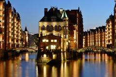 Speicherstadt, historical center of Hamburg at twilight Stock Photography