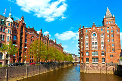 Speicherstadt i Hamburg royaltyfri bild