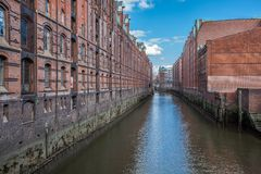 Hamburg`s Speicherstadt, a historic warehouse district, Germany royalty free stock photo