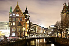 Speicherstadt at night in Hamburg Stock Photography
