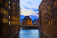 Speicherstadt at night in Hamburg Royalty Free Stock Photos