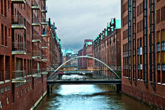 Speicherstadt at night in Hamburg Stock Images