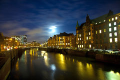 Speicherstadt at night in Hamburg Stock Photo