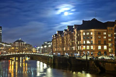 Speicherstadt at night in Hamburg Royalty Free Stock Photo