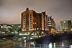 Speicherstadt at night in Hamburg Royalty Free Stock Photography