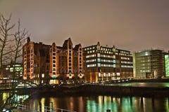 Speicherstadt at night in Hamburg Royalty Free Stock Image