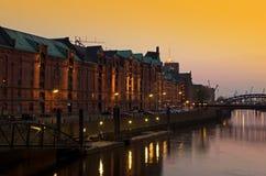 Speicherstadt solnedgång Royaltyfria Foton