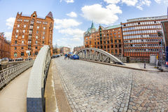 Speicherstadt (Warehouse district) in Hamburg, Germany Stock Images