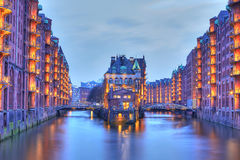 Speicherstadt in the warehouse district of Hamburg. At night stock photo