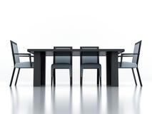 Speisen der Gruppe mit einer Tabelle und Stühlen Lizenzfreie Stockfotos