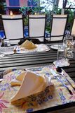 Speisen im Garten Stockfotos