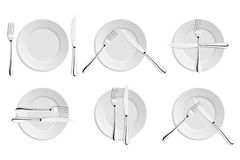 Speisen von Etikette, von Gabeln und von Messersignalen Stockbilder