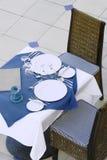 Speisetisch der Gaststätte Stockbild