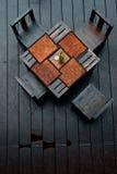 Speisetisch und Stuhl hölzern Stockbild