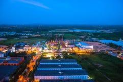 Spektakulär aftonatmosfär i den Pattaya staden Arkivbild