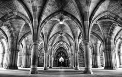 Spektakulär arkitektur inom universitetet av Glasgow huvudbyggnad, Skottland, UK Fotografering för Bildbyråer