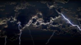 spektakulär himmel 4K med åskväder och blixtar i nattstormmoln stock illustrationer