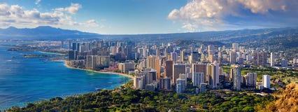 Spektakulär sikt av den Honolulu staden, Oahu Arkivfoton