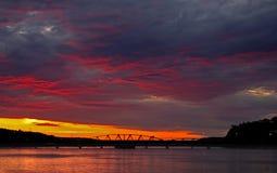 spektakulär solnedgång Arkivfoton