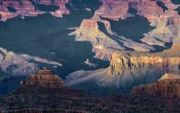 Spektakulär solnedgång på Grandet Canyon Arkivfoto