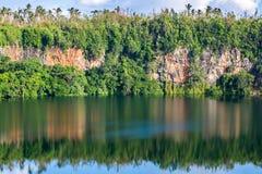 Spektakulär vulkanisk kratersjö Lalolalo i ön av Uvea Wallis, Wallis och Futuna Wallis-och-Futuna, Polynesien, Oceanien royaltyfri bild
