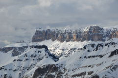 Spektakulära Gruppo Cella Mountains, Cella Ronda, Dolomites, fjällängar, Italien Royaltyfri Bild