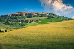 Spektakulära Tuscany cityscape- och kornfält, Pienza, Italien, Europa fotografering för bildbyråer