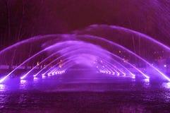Spektakulärt vatten och mång--färgad ljus- och laser-showSKOG AV FÖRNIMMELSER med springbrunnbeståndsdelar royaltyfri bild