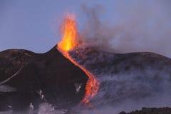 Spektakulärt Volcano Etna utbrott, Sicilien, Italien Royaltyfria Foton