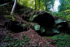 Spektakularna geological formacja w wilczym ` s wąwozie Zwingenberg obraz stock