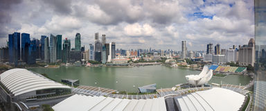 Spektakularna panorama Singapur Środkowa dzielnica biznesu Zdjęcie Royalty Free