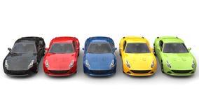 Spektakularni sportów samochody w różnorodnych kolorach - wierzchołka puszka widok zdjęcie royalty free