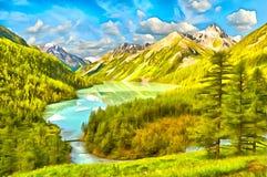 Spektakularny Halny Jeziorny frędzlasty lasem ilustracji