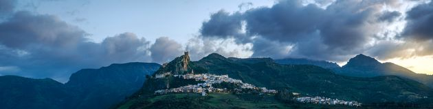 Spektakularny panoramiczny widok Zahara De Los angeles Sierra, CÃ ¡ diz Zdjęcia Royalty Free