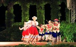 Spektakularny Peruwiański folkloru tana grupy działanie zdjęcie stock