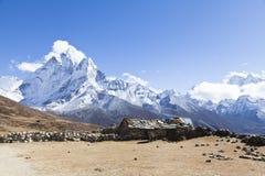 Spektakularny sposób Everest podstawowy obóz, Khumbu dolina, Sagarmatha park narodowy, Nepalscy himalaje fotografia stock