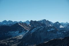 Spektakularny widok Allgaeu Alps blisko Oberstdorf, Niemcy Zdjęcie Stock