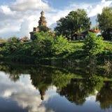 Spektakularny widok antyczny drewniany kościół Suzdal, Rosja, Złoty pierścionek Obraz Royalty Free