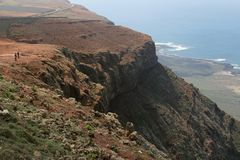 Spektakularny widok od Mirador del Rio przy wyspą Lanzarote, Hiszpania Obrazy Royalty Free