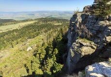 Spektakularny widok od wierzchołka Strzeliniec Wielki szczyt, Polska Zdjęcie Stock